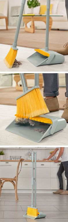 Dustpan with teeth to comb the dust off the broom - genius! Broom groomer pro #product_design #industrial_design