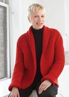 Red Hot Sweater Jacket in Lion Brand Wool-Ease Chunky - Knitting Pattern Vogue Knitting, Knitting Yarn, Free Knitting, Knitting Sweaters, Aran Sweaters, Knitting Stitches, Baby Knitting Patterns, Sewing Patterns, Knit Jacket