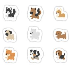'Chibi Puppers' Sticker by ncdoggGraphics Kawaii Stickers, Cute Stickers, Chibi, Cute Little Dogs, Tumblr Stickers, Kawaii Drawings, Aesthetic Stickers, Printable Stickers, Transparent Stickers