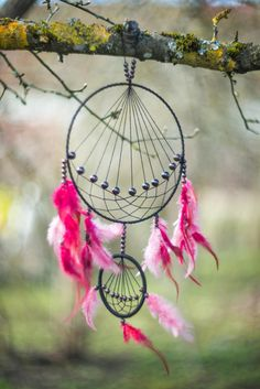 Dreamcatcher rosa grande por MysteriousForests