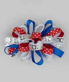 Love this Red, White & Royal Blue Sequin Loopy Bow Clip by Bourbon Street Boutique on #zulily! #zulilyfinds