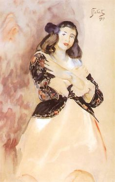 Julian Fałat. Portret córki Heleny w hiszpańskim bolerku