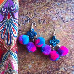 .@Alicia Hanson (Alicia Hanson)  SilverBotanica Jewelry Pom Pom earrings.