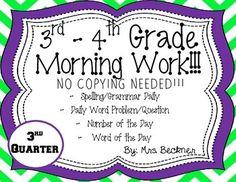 3rd-4th Grade Morning Work!!!