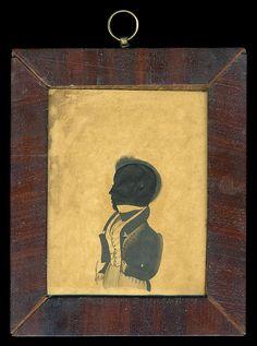 19th c hollow-cut silhouette, gentleman w/quill pen