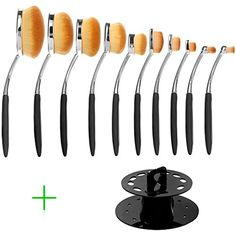 DSCbeauty Professional 10 Pcs Oval Makeup Brush Set Toothbrush Makeup Brush Kit Foundation Contour Blush Blending Lip Eyebrow Eyeliner Eyeshadow Concealer Cosmetic Brush Set with Oval Brushes Stand ** Find out more about the great product at the image link. (This is an affiliate link and I receive a commission for the sales)