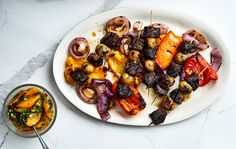 Get the recipe for Steak-and-Potato Skewers With Orange Salsa. Grilled Steak Recipes, Grilled Meat, Grilling Recipes, Beef Recipes, Grilled Skewers, Vegetarian Grilling, Grilling Ideas, Healthy Grilling, Barbecue Recipes