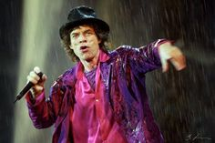 September 5 / 1998 / Den Hague / Holland Mick Jagger / The Rolling Stones in Malieveld (The Stones show started at 8 pm … and so did rain)