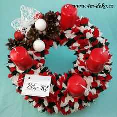 Vypichovaný látkový adventní věnec červeno/bílo/zelený. Ornament Wreath, Ornaments, Christmas Wreaths, Holiday Decor, Home Decor, Decoration Home, Room Decor, Christmas Decorations, Home Interior Design
