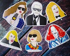 Fashion Sticker Pack // Anna Wintour Vogue Joan Rivers Illustration Karl Lagerfeld Chanel Sex And The City Grace Coddington Carrie Bradshaw