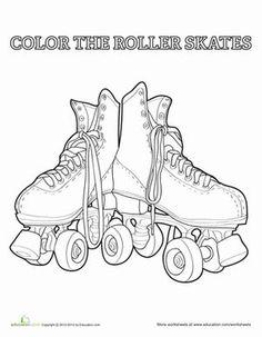 Kindergarten Sports Worksheets: Roller Skate Coloring Page Kids Roller Skates, Roller Rink, City Roller, Roller Derby, Roller Skating Party, Skate Party, Skating Rink, Coloring Book Pages, Coloring Sheets