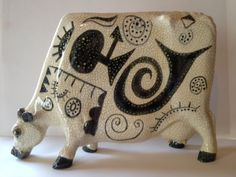 Cow Sculpture Cow Ceramic Flat Cow Statute by AStrokeoftheBrush. Surface design is as important as structure. Whimsical!