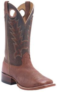 Cavender's Men's Peanut Smooth Ostrich w/ Sport Rustic Top Double Welt Square Toe Western Boots | Cavender's