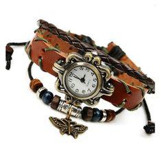 Gnova Platinum Top Genuine Leather Bracelet Watch Women Charm Leaf Butterfly Ethnic Geneva Style Urban Girl Fashion Para Dama
