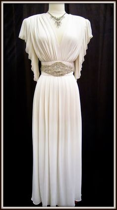 1940's crepe chiffon gown with a fabulous rhinestone waist band.