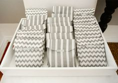 Grey and white baby shower favor bags