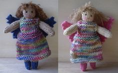 Part-Time Angel-This pattern is available as a free Ravelry download. A knitted angel that fits in the palm of your hand. She comes complete with clothes and her wings fasten on to her dress with a safety pin so that she can return to normal life once Christmas is over.