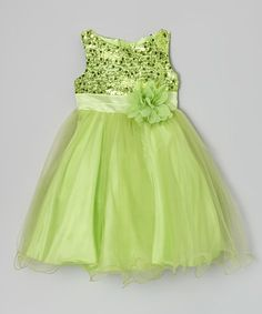 Loving this Kid's Dream Green Sequin Tulle A-Line Dress - Infant, Toddler & Girls on Toddler Girl Dresses, Toddler Girls, Girls Dresses, Flower Girl Dresses, Infant Toddler, Flower Girls, Cute Outfits For Kids, Pretty Outfits, Party Frocks