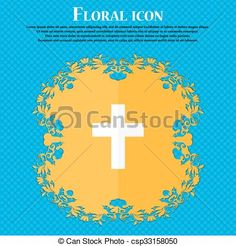 religious cross, Christian icon. Floral flat design on a blue abstract background with place for your text. Vector - csp33158050