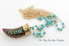 Tibetan Horn Necklace with Turquoise and by ViaVayJewelryDesigns