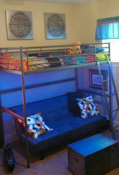 Tween boy's room. LED lights under loft bed with sofa-bed underneath.