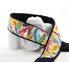 Colorful Feathers dSLR Camera Strap Feathers Blue Yellow by ten8e