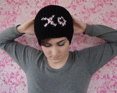 Slouchy Women's Knitted XO Hat by LivelyLoops on Etsy, $30.95