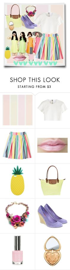 """Stripped skirt"" by lulalalala ❤ liked on Polyvore featuring Neil Barrett, Boden, Miss Selfridge, Longchamp, Michael Kors, Topshop, Too Faced Cosmetics, vintage, summerstyle and pineapple"