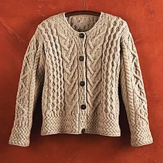 Irish Aran knitting; Each pattern symbolizes an aspect of local fishing culture: Celtic rope for Irish pride; fisherman's cable for safety on the waters; basket stitch for a plentiful catch; and diamond, the shape of a fishing net, for success.
