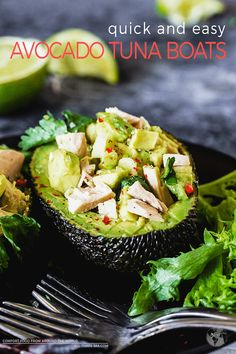 These quick and easy avocado tuna boats are the perfect solution for lazy days. They are absolutely delicious and Paleo, Keto, and Whole 30 approved! Fish Recipes, Lunch Recipes, Seafood Recipes, Dinner Recipes, Avocado Recipes, Seafood Dishes, Easy Healthy Recipes, Paleo Recipes, Ketogenic Recipes