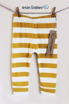 Baby Leggings Mustard/White Striped Design  Made by DreamElephant, $12.00
