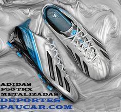 Botas de fútbol Adidas Adizero F50 TRX plata negra azul