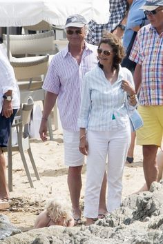 King Carl Gustaf and Queen Silivia of Sweden on vacation in the Cote D'Azur July 2014