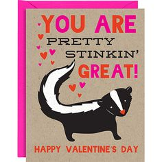 Cute Skunk Valentine Card on Recycled Paper - Sweet! Valentines Day