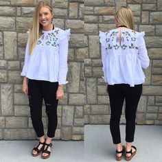 {Embroidered Ruffle Top $29|| Jeans $39.50} Comment below with PayPal to purchase and ship or comment for 24 hour hold #repurposeboutique#shoprepurpose#boutiquelove#style#trendy#musthaves#obsessed#fashion#spring#summeready