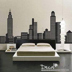 City Skyline Decal  City Buildings Skyline  Vinyl by StunningWalls, $131.00