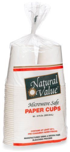 Natural Value Microwave Safe Paper Cups, 60-Count 9-Ounce Cups (Pack of 12) by Natural Value. $69.37. Microwave safe. Contains at least 20% pre-consumer paper fibers. Perfect for hot and cold drinks. Pack of twelve, 60-counts (total of 720-counts). Affordably priced, these paper cups from Natural Value are microwave safe, contain at least 20% pre-consumer paper fibers, and are manufactured using a dioxin-free bleaching process. This is a great way to get the products yo...