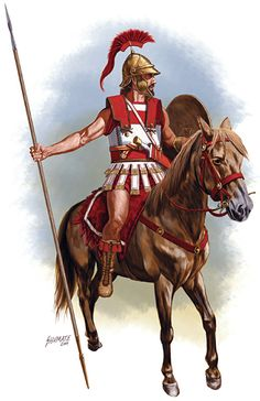 Late Hellenistic cavalryman. This fine horseman has the latest armour the period has to offer. The helmet has open sides to allow better hearing and vision and the addition of a shield sets him apart from his earlier Hellenistic counterpart. Cavalry like this were more than a match for Latin and Italic cavalry from the same period.