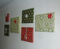 Wrap your picture frames like gifts with Christmas wrapping paper and hang them back on the wall.