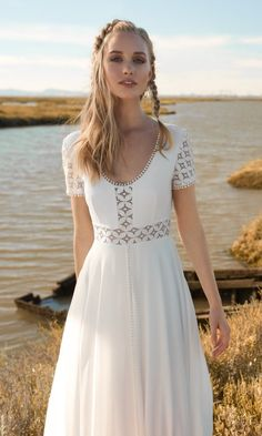 Rembo styling — 2018 Collection — Alice Blue: Soft dress with a round neckli… Rembo styling — 2018 Collection — Alice Blue: Soft dress with a round neckline and short sleeves in heavy lace. Round open neckline in back. Wedding Dress Cardigan, Boho Wedding Dress Backless, Boho Wedding Dress Bohemian, Simple Wedding Gowns, Wedding Dress Trends, Sexy Wedding Dresses, Boho Dress, Sexy Dresses, Bridal Dresses