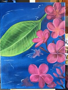 Pink plumeria flower over water painting by LiliuokalaniDesigns on Etsy