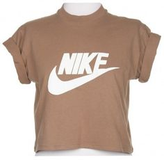 Rokit Recycled Brown Nike Cropped T-Shirt - Vintage clothing from Rokit - Rokit Recycled, Brown, Nike, Cropped T-Shirt ($20-50)