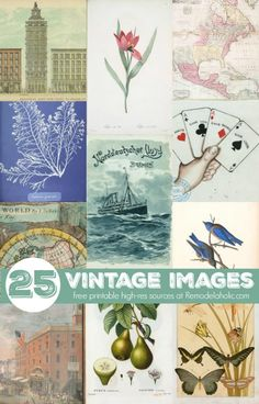 Free printable high resolution vintage images from book pages and more via NYPL, sources at @Remodelaholic