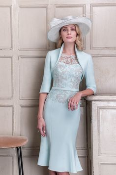 Crepe Dress with Matching Jacket in Blush & Mint. Dress has a pretty lace overlay to the bodice with sheer lace sleeves and crepe belt to define the waist. Royal Dresses, Dressy Dresses, Dress Outfits, Fashion Dresses, Women's Fashion, Mother Of The Bride Dresses Long, Mother Of Bride Outfits, Crepe Dress, Lace Dress