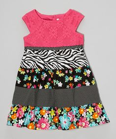 Look at this #zulilyfind! Youngland Black & Pink Floral Patchwork Dress - Toddler & Girls by Youngland #zulilyfinds