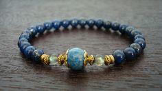Women's Strength & Intuition Mala Bracelet - Lapis Lazuli and Labradorite Mala Bracelet - Yoga, Buddhist, Jewelry, Meditation, Prayer Beads
