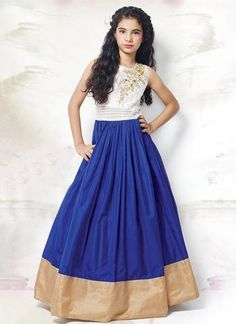 Bold White and Blue Designer kids Gown. Look simple yet rich with wearing this Georgette kids Gown with Patch work. Kids Lehenga Choli, Anarkali Dress, Anarkali Suits, Punjabi Suits, Sarees, Gowns For Girls, Girls Dresses, Kids Ethnic Wear, Kids Gown