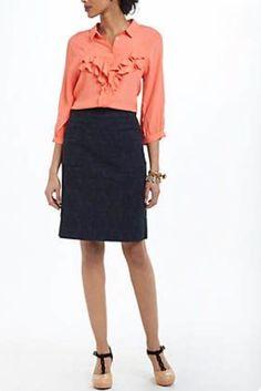Anthropologie Moulinette Soeurs Women's Skirt Brocade Pencil Navy Blue 12 #Anthropologie #StraightPencil