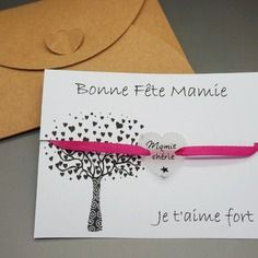 """Bracelet ruban satin à nouer rose cabochon """"mamie chérie"""" couleur et texte personnalisable"""