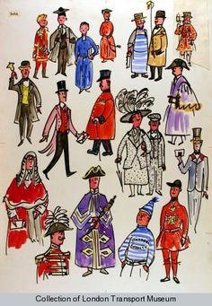 "Poster and poster artwork collection, London Transport Museum  - ""We Londoners"" by Dorrit Dekk, 1961."